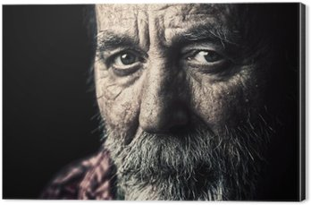 Very old homeless senior man portrait Aluminium Print (Dibond)