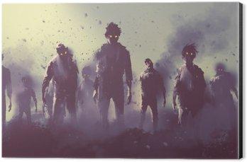 Aluminium Print (Dibond) zombie crowd walking at night,halloween concept,illustration painting