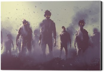 zombie crowd walking at night,halloween concept,illustration painting Aluminium Print (Dibond)