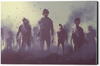 Aluminium Print (Dibond) zombie crowd walking at night,halloween concept,illustration painting