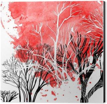 Aluminiumtavla Abstrakt silhuett av träd