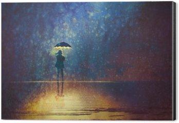Aluminiumtavla Ensam kvinna under paraply ljus i mörkret, digital målning
