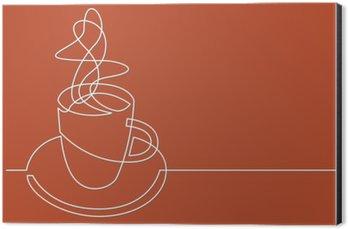 Aluminiumtavla Kontinuerlig teckning av kopp kaffe