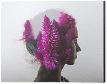 Aluminiumtavla Kreativa dubbel exponering med porträtt av ung flicka och blommor