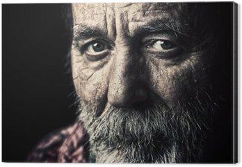 Aluminiumtavla Mycket gamla hemlösa äldre man porträtt