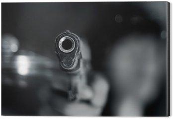 Aluminiumtavla Svart och vitt, kvinna pekar gammal pistol i handen