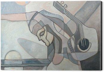 Alüminyum Baskı (Dibond) Kadın ve Gitar ile soyut Boyama