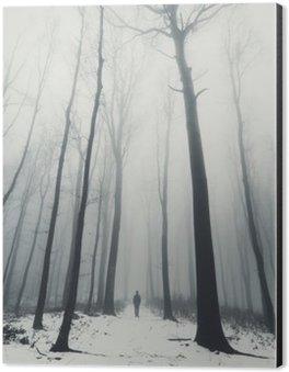 Alüminyum Baskı (Dibond) Kışın uzun boylu ağaçlar ormanda adam
