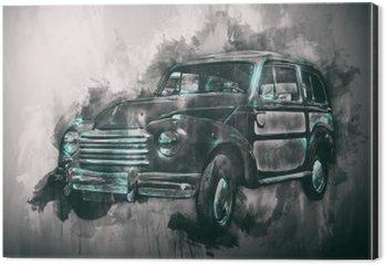 Alüminyum Baskı (Dibond) Koyu skeç ile eski araba boyama