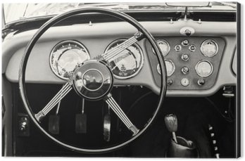 Alüminyum Baskı (Dibond) Tarihi eski arabada direksiyon simidi ve gösterge paneli