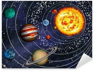 Pixerstick Aufkleber 3D Solar System: 9 Planeten in ihren Bahnen