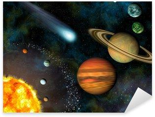 Pixerstick Aufkleber 3D Solar System Wallpaper enthält die Sonne und neun Planeten.