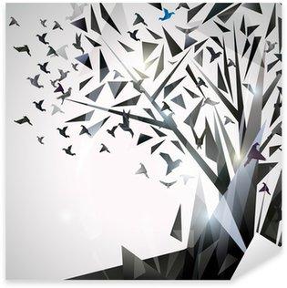 Pixerstick Aufkleber Abstrakter Baum mit Origami-Vögel.