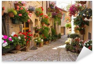 Pixerstick Aufkleber Alley mit Blumen, Spello