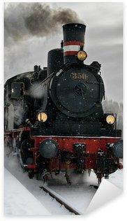 Pixerstick Aufkleber Alte Dampflokomotive im Schnee
