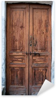 Pixerstick Aufkleber Alte hölzerne Tür Farbbild