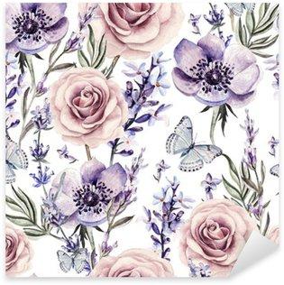 Pixerstick Aufkleber Aquarell-Muster mit den Farben von Lavendel, Rosen und Anemonen.