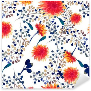 Pixerstick Aufkleber Aquarell nahtlose Muster mit Löwenzahn. Floral background.