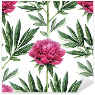 Pixerstick Aufkleber Aquarell Päonienblüten Illustration. Nahtlose Muster