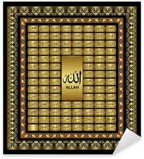 Pixerstick Aufkleber Asmaul husna, 99 Namen Allahs, des Allmächtigen