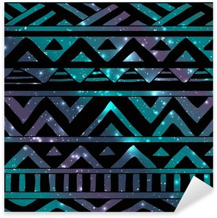 Pixerstick Aufkleber Aztec Tribal nahtlose Muster auf Cosmic Background