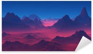 Pixerstick Aufkleber Berge bei Sonnenuntergang