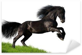 Pixerstick Aufkleber Black Friesian Pferd galoppiert auf dem Hügel