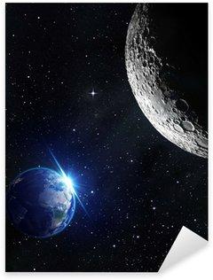 Pixerstick Aufkleber Blick vom Mond - Sonnenaufgang der Erde