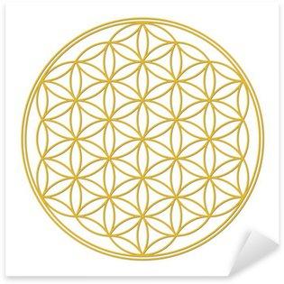 Pixerstick Aufkleber Blume des Lebens Gold mit Schatten