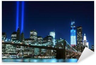 Pixerstick Aufkleber Brooklyn Brigde und die Türme der Lichter, New York City