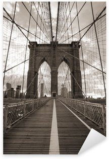 Pixerstick Aufkleber Brooklyn-Brücke in New York City. Sepia-Ton.