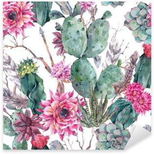 Pixerstick Aufkleber Cactus Aquarell nahtlose Muster im Boho-Stil.