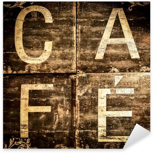 Pixerstick Aufkleber Cafe Zeichen auf braunen strukturierten Hintergrund