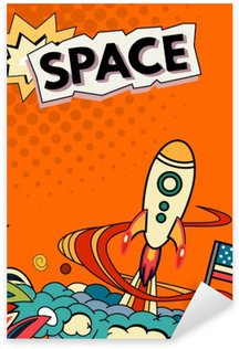 Pixerstick Aufkleber Cartoon Vektor-Illustration des Raumes. Mond, Planet, Rakete, Erde, Kosmonaut, Komet, Universum Klassifikation Milchstraße Hand gezeichnet Comics Kosmos