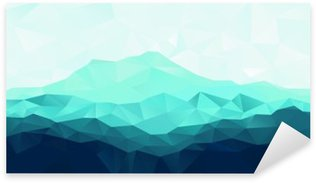 Pixerstick Aufkleber Dreieck geometrische Hintergrund mit blauen Berg