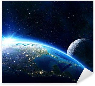 Pixerstick Aufkleber Erde USA, Horizont und Mond