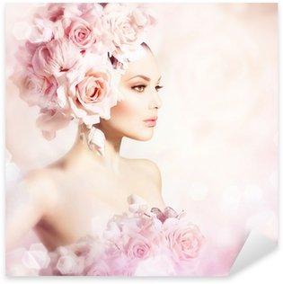 Pixerstick Aufkleber Fashion Beauty Modell Mädchen mit Blumen Haar. Braut