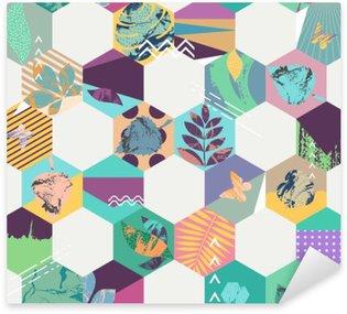 Pixerstick Aufkleber Floral nahtlose geometrischen Hintergrund
