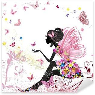 Pixerstick Aufkleber Flower Fairy in der Umgebung von Schmetterlingen