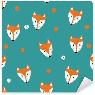 Pixerstick Aufkleber Fox nahtlose Muster. Doodle Hintergrund.