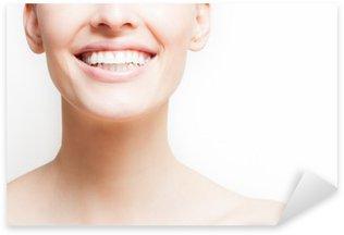 Pixerstick Aufkleber Frau lächelt, weißem Hintergrund, copyspacep