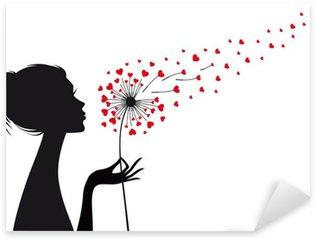 Pixerstick Aufkleber Frau und Löwenzahn mit roten Herzen, Vektor