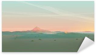 Pixerstick Aufkleber Geometrische Berglandschaft mit Gradient Himmel