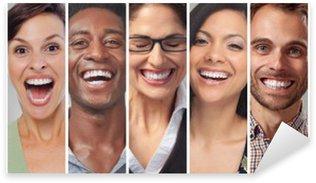 Pixerstick Aufkleber Glückliche Menschen Gesichter Setp