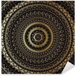 Pixerstick Aufkleber Gold-Mandala. Indian dekorativen Muster.