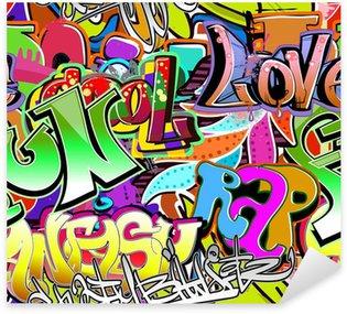 Pixerstick Aufkleber Graffiti Wand. Urbane Kunst Vektor Hintergrund. Nahtlose Muster