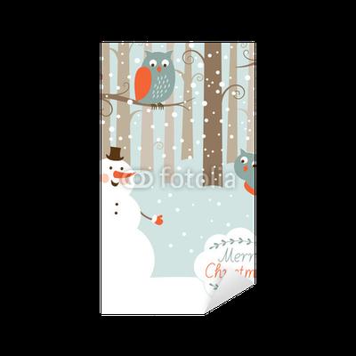 Pixerstick Aufkleber Gruß Weihnachtskarte, Schneemann im Wald