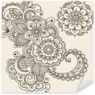Pixerstick Aufkleber Henna Tattoo Abstrakte Paisley Flower Doodles Vector