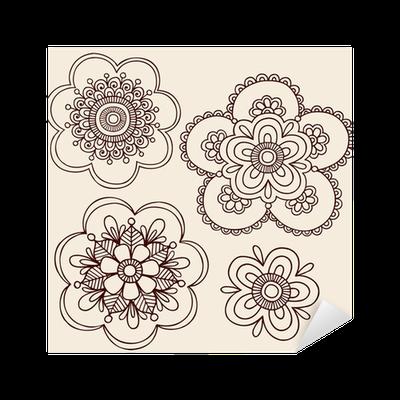 aufkleber henna tattoo blume mandala doodles pixers. Black Bedroom Furniture Sets. Home Design Ideas