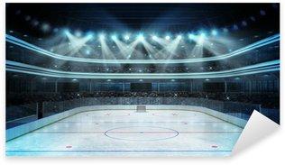 Pixerstick Aufkleber Hockey-Stadion mit Zuschauern und eine leere Eisfläche
